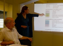 Maria Engström explains the Swedish zoning laws at a meeting in the office of Nyréns